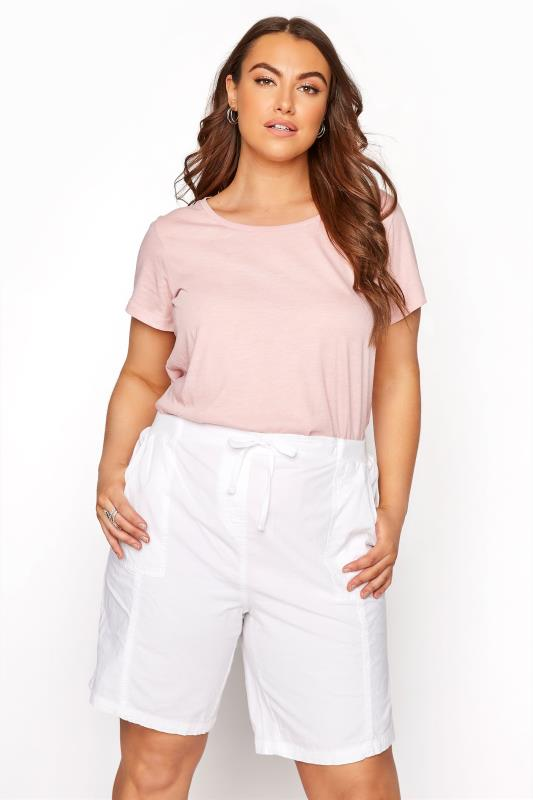 White Cool Cotton Pull On Shorts_A.jpg