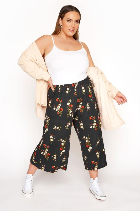 LIMITED COLLECTION Black & Red Floral Print Culottes