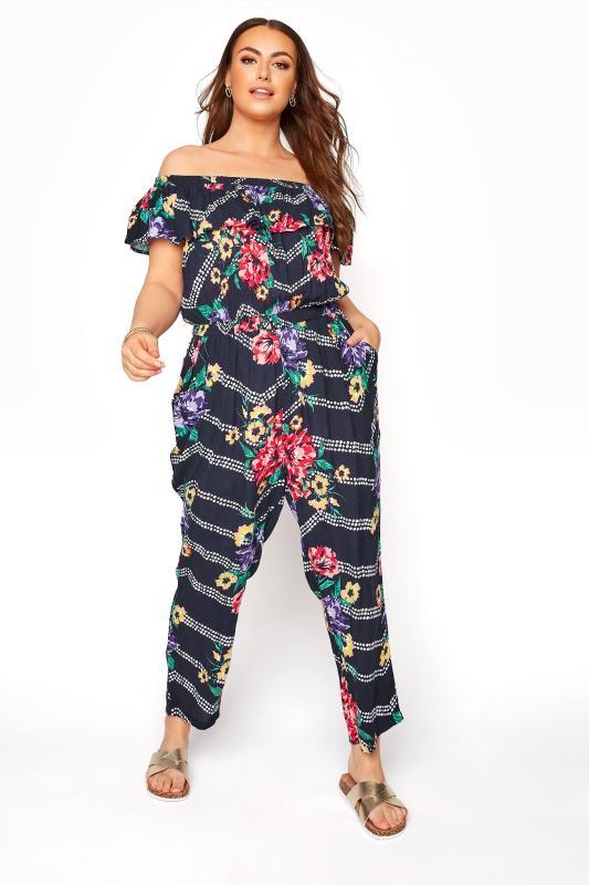Navy Floral Chevron Print Bardot Crinkle Jumpsuit_A.jpg