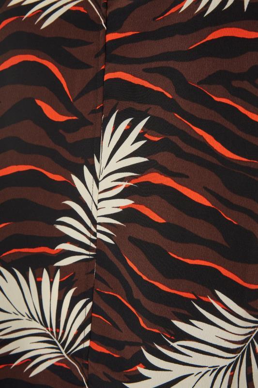 Brown Tropical V-Neck Shift Dress_S.jpg