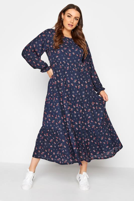 Plus Size  LIMITED COLLECTION Navy Ditsy Smock Dress