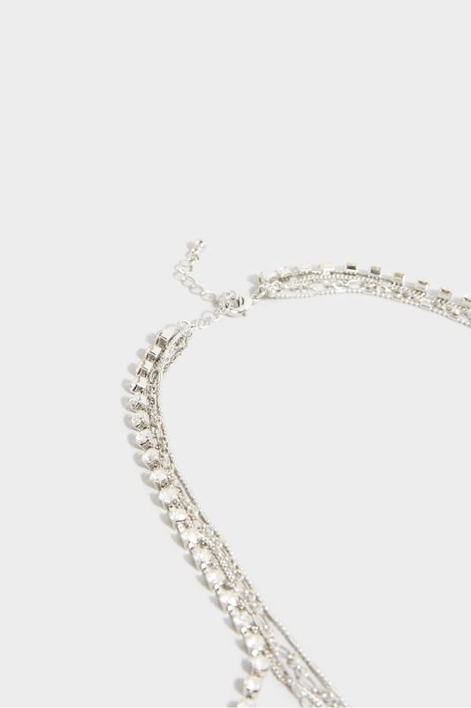 Silver Four Tier Heart Necklace