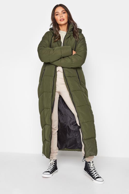 Tall  Khaki Longline Puffer Coat