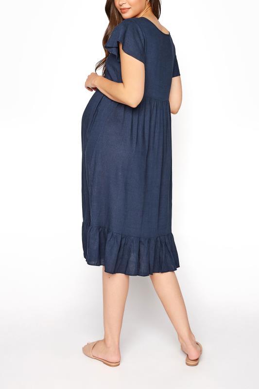LTS Maternity Navy Linen-blend Dress_C.jpg