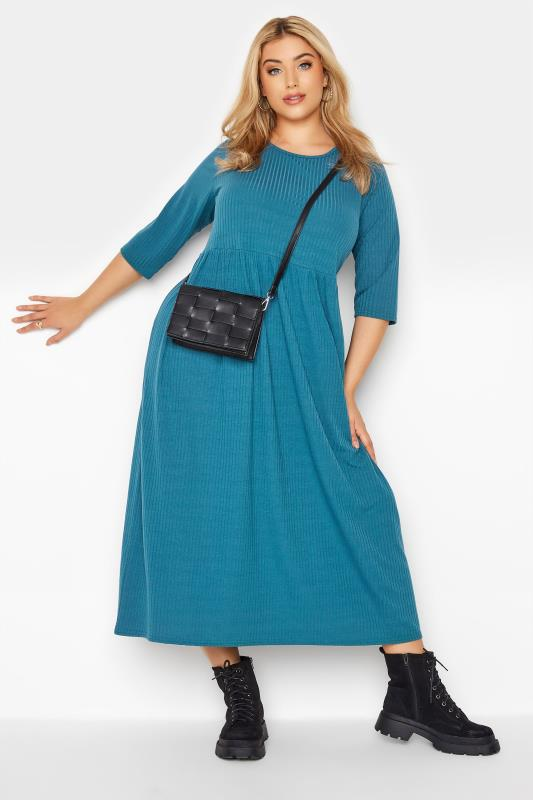 LIMITED COLLECTION Blue Ribbed Midi Dress_B.jpg