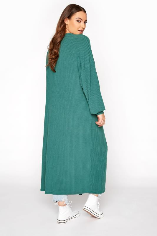 LIMITED COLLECTION Forest Green Ribbed Long Cardigan_C.jpg