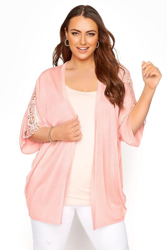 Plus Size  Pink Kimono Sleeve Cardigan