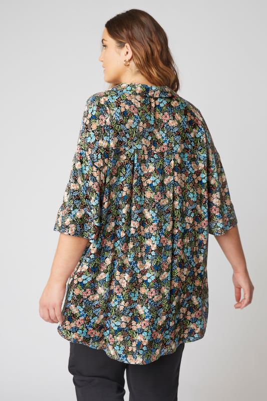 THE LIMITED EDIT Black Multi Floral Pleated Front Top_C.jpg