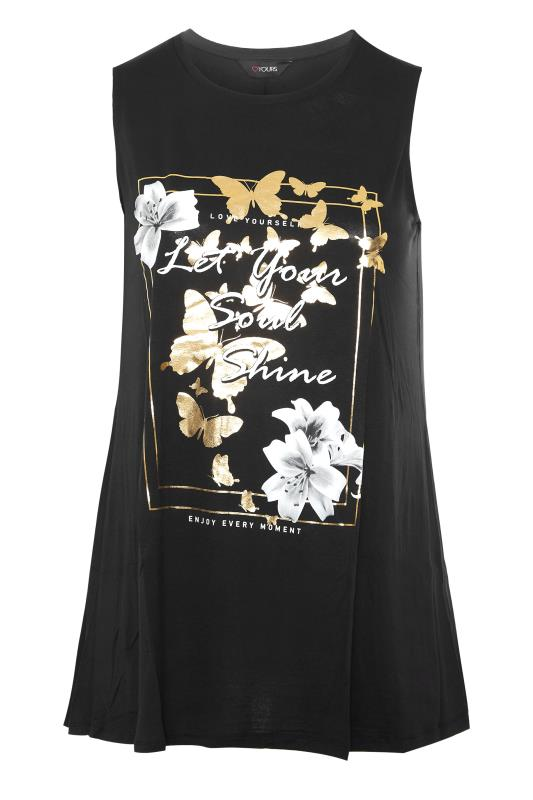 Plus Size  Black 'Let Your Soul Shine' Slogan Vest Top