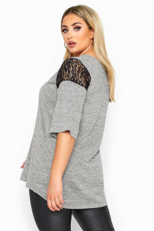 LIMITED COLLECTION Grey Marl Lace Insert Lattice Top
