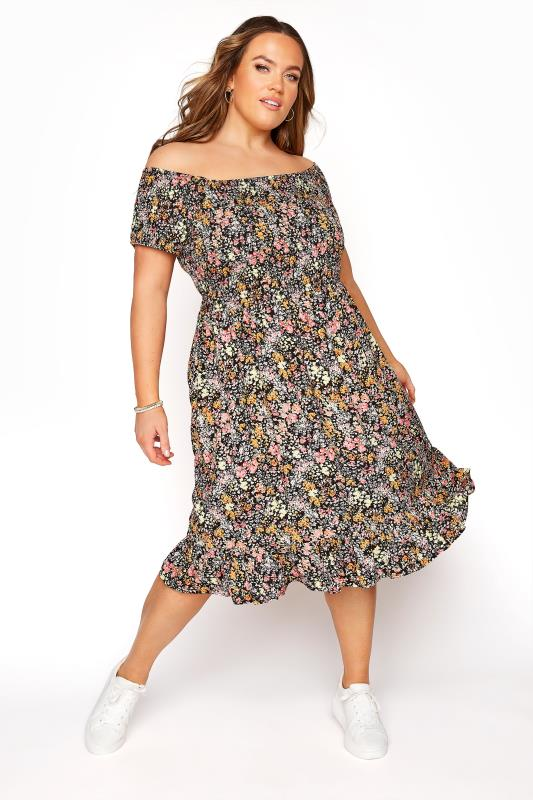 Plus Size  Multi Ditsy Floral Shirred Bardot Dress