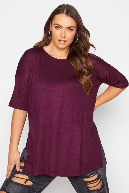 Plus Size  Berry Purple Oversized Jersey Tee