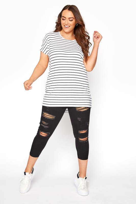 Plus Size  Black Extreme Ripped Cropped Jeggings