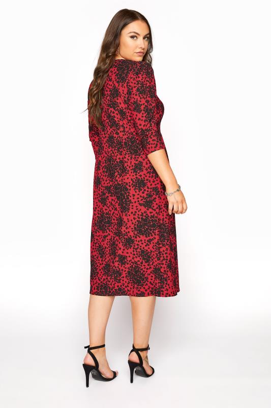 YOURS LONDON Red Ditsy Button Dress_C.jpg