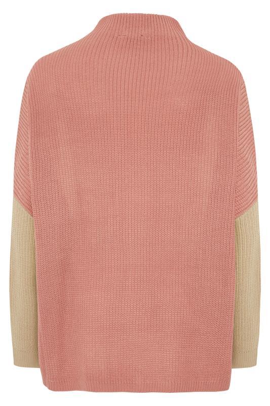 Cream Colour Block Oversized Knitted Jumper_bk.jpg