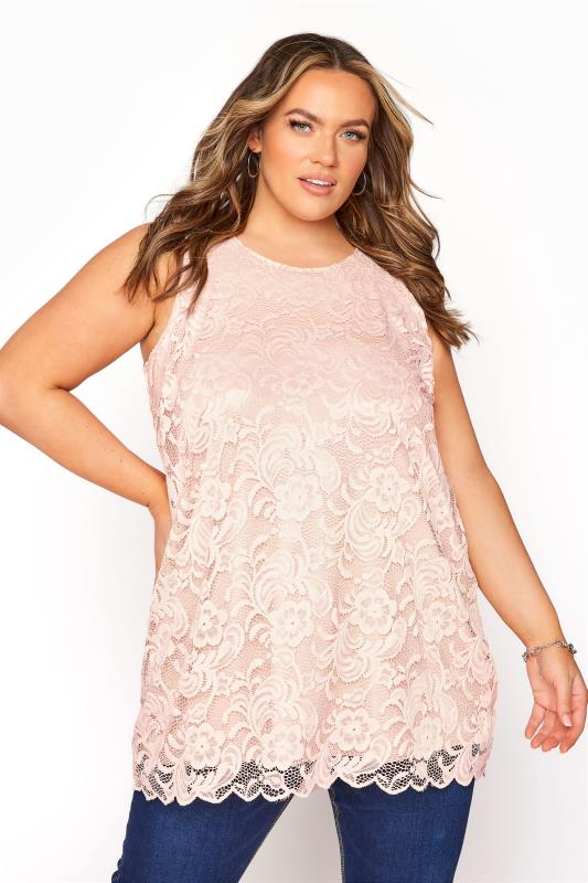 Plus Size  YOURS LONDON Pink Lace Shell Top