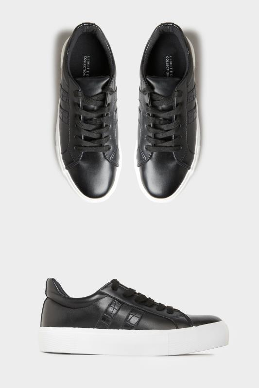 Yours LIMITED COLLECTION Black Platform Stripe Trainers In Wide Fit