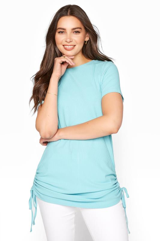 Tall  LTS Turquoise Blue Ribbed Ruched Side Tunic