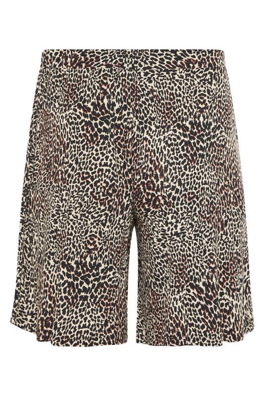 Plus Size  Brown Animal Print Jersey Shorts