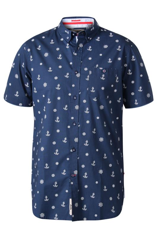 D555 Dark Blue Nautical Print Shirt