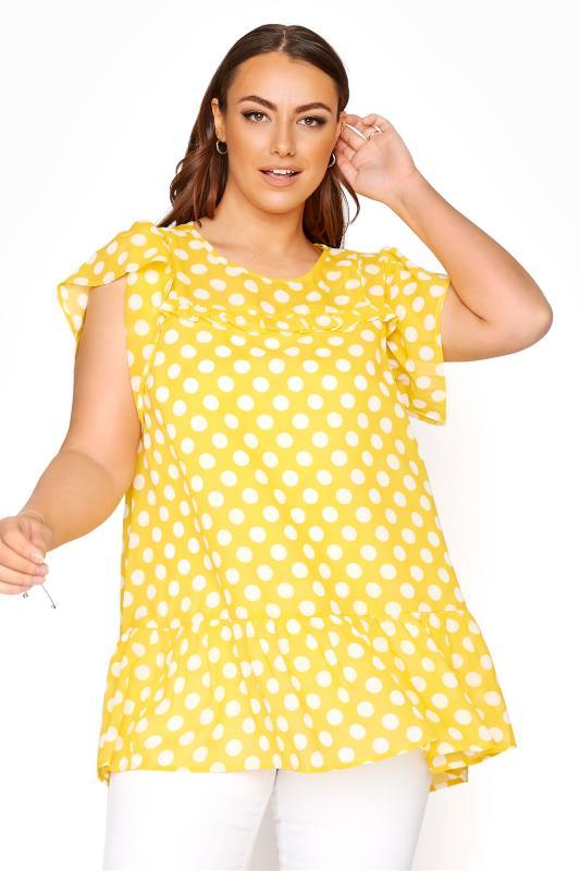 Plus Size  Bright Yellow Polka Dot Frill Hem Tunic