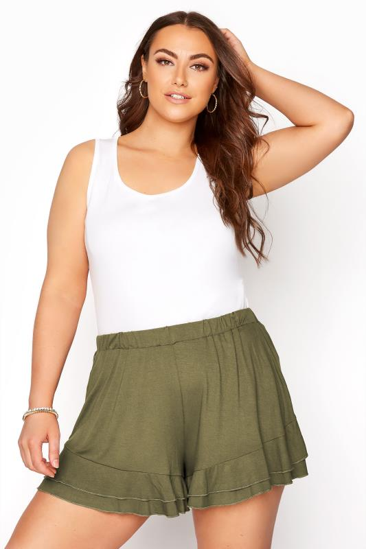 Plus Size  Khaki Jersey Frill Shorts
