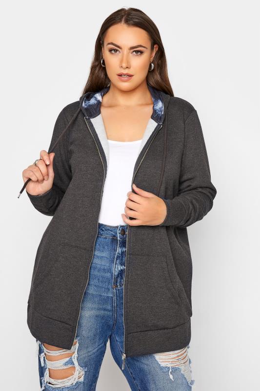 Grande Taille Charcoal Grey Zip Hoodie