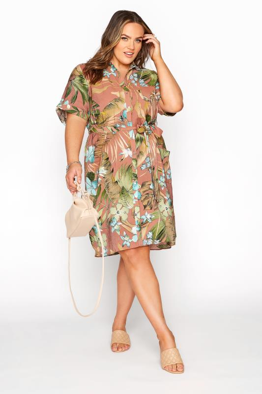 Plus Size  Brown Floral Belted Shirt Dress