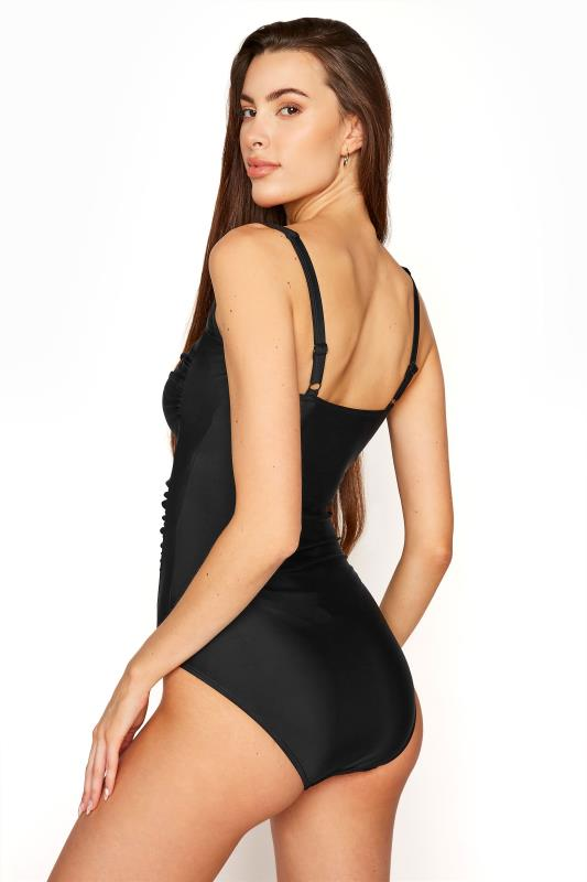 LTS Black Tie Front Ruched Swimsuit