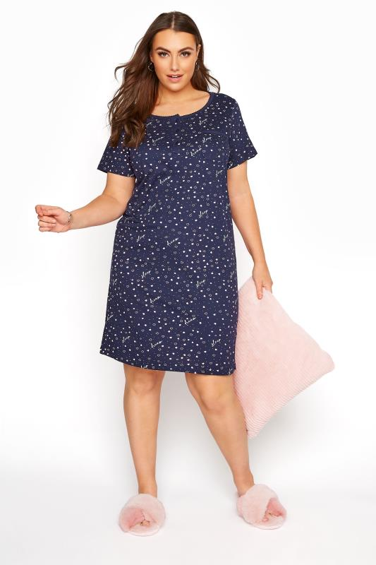 Plus Size  Navy Heart Sleep Print Nightdress