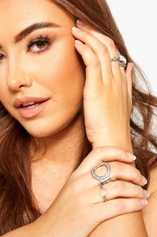 Jewellery Grande Taille 5 PACK Silver Diamante Rings