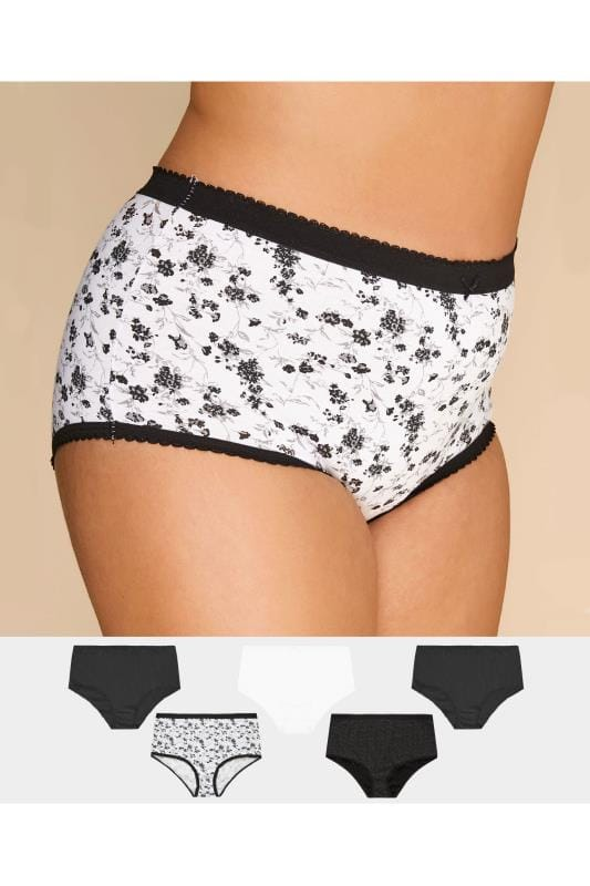 Plus Size Multi Value Packs 5 PACK Black & White Floral & Spot Full Briefs