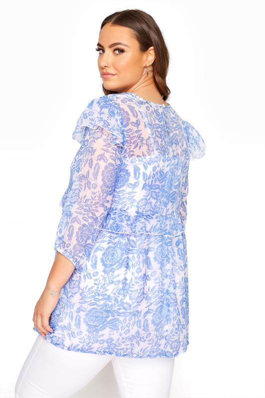 LIMITED COLLECTION Light Blue Frill Floral Blouse_C.jpg