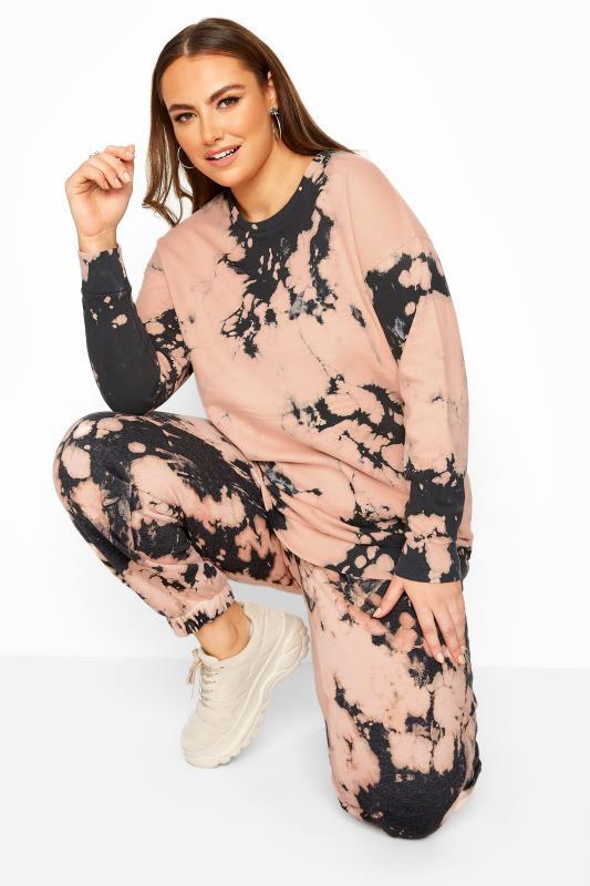 Plus Size  Pink Tie Dye Co-ord Sweatshirt