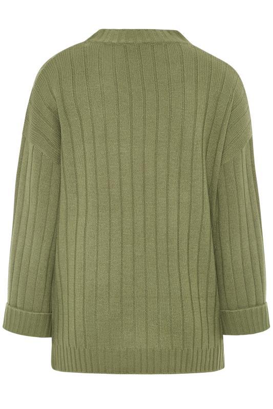 Khaki Ribbed Wide Sleeve Knitted Jumper_BK.jpg