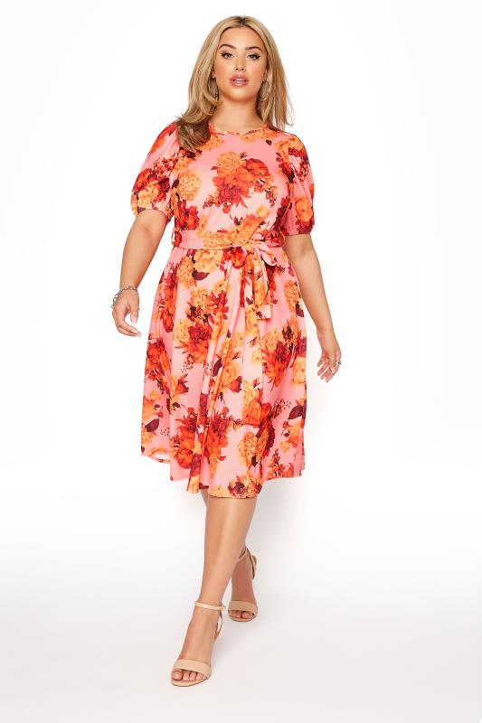 Plus Size  YOURS LONDON Orange Floral Puff Sleeve Skater Dress