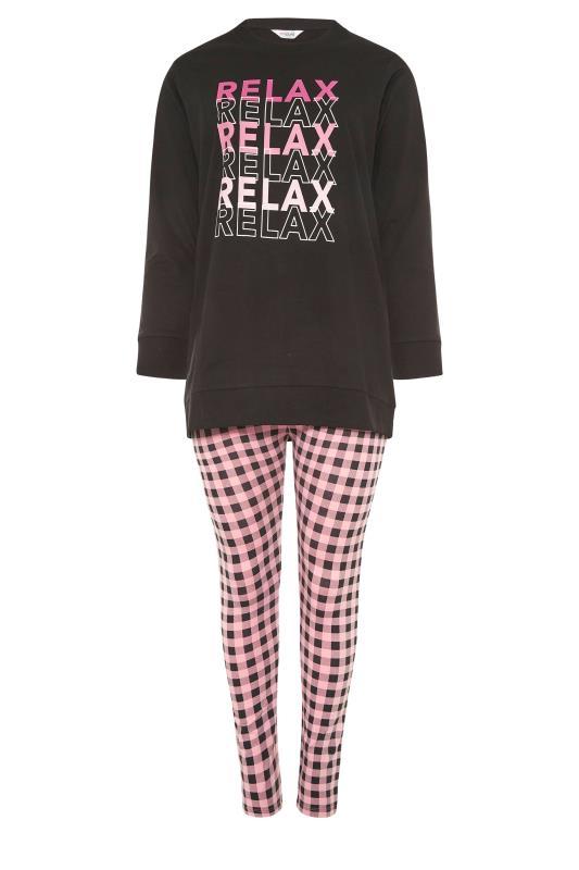 Plus Size  Black 'Relax' Gingham Lounge Set
