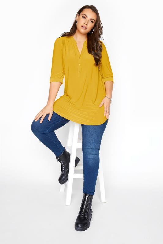 Mustard Yellow Slinky Jersey Shirt