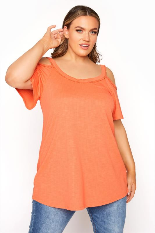 Plus Size  Orange Cold Shoulder Strap T-Shirt