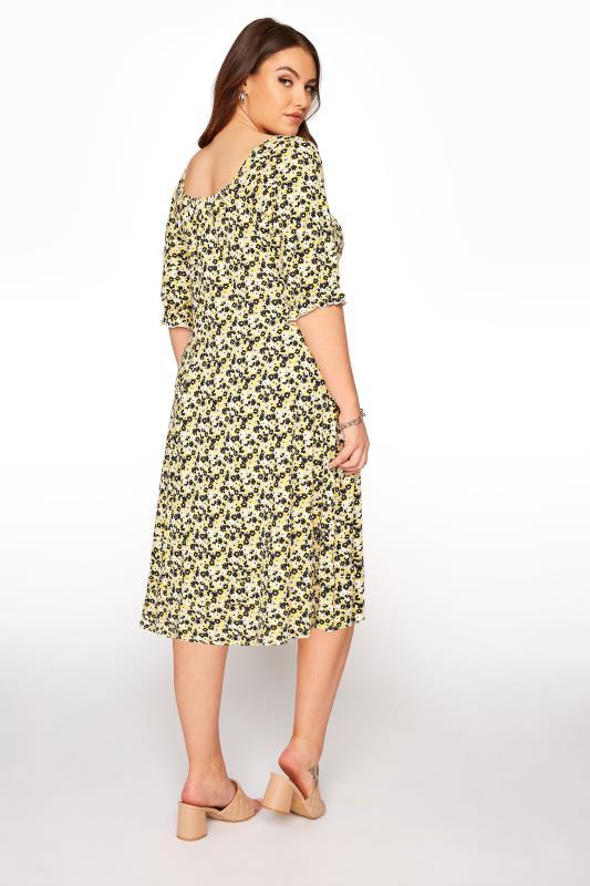 YOURS LONDON Yellow Ditsy Milkmaid Dress_C.jpg