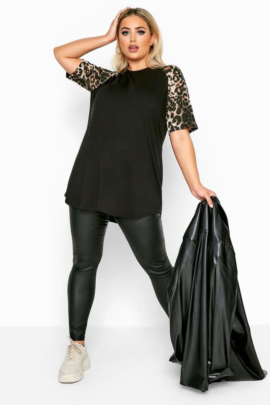 LIMITED COLLECTION Black Animal Print Short Raglan Sleeve Top