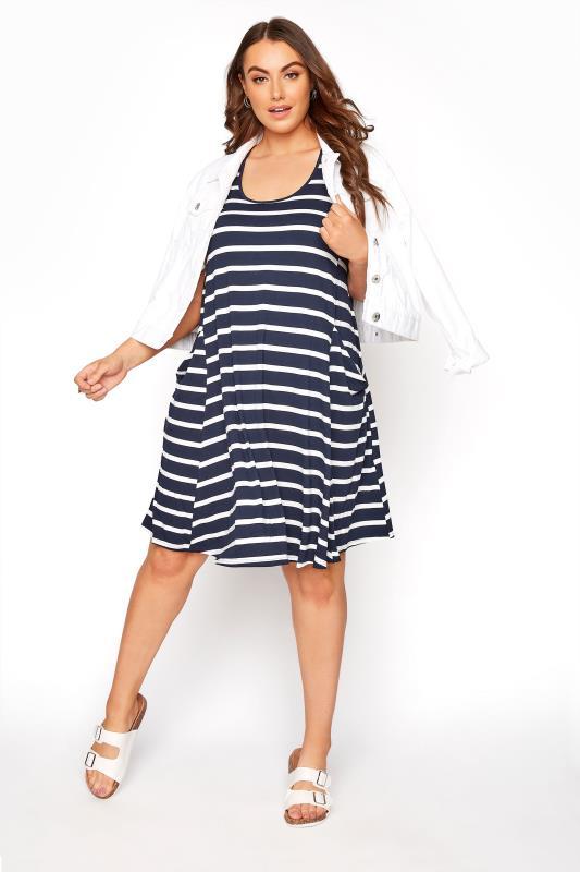 Navy Stripe Drape Pocket Dress_B.jpg