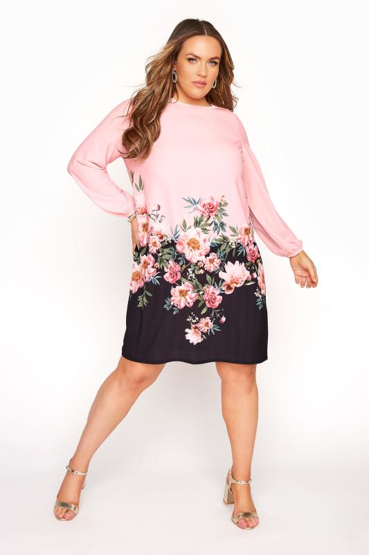 Plus Size  YOURS LONDON Pink Floral Border Shift Dress