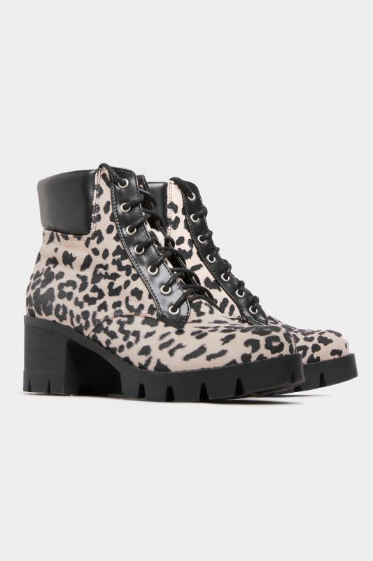LIMITED COLLECTION Suedette Leopard Platform Lace Up Heeled Boots In Wide Fit