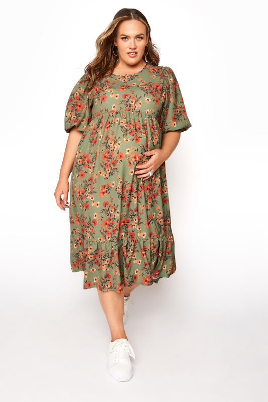 Plus Size  BUMP IT UP MATERNITY Green Floral Balloon Sleeve Midaxi Dress