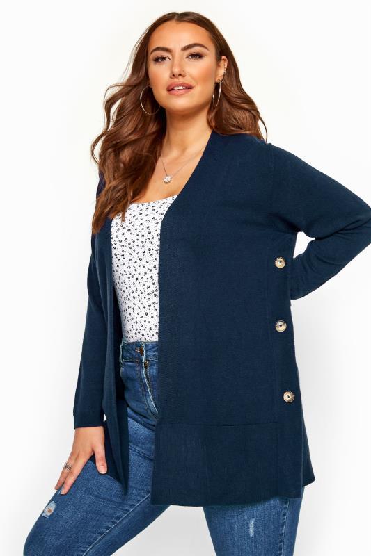 Navy Cashmilon Button Side Cardigan