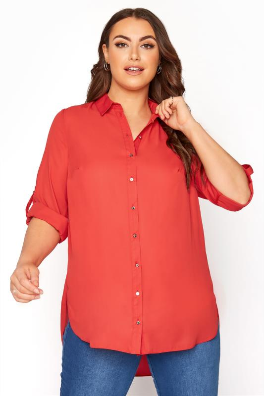 Plus Size  Bright Red Oversized Chiffon Shirt