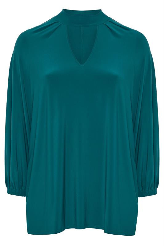 Party Tops Tallas Grandes YOURS LONDON Teal Blue Slinky Choker Top