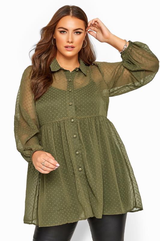 Plus Size Shirts Khaki Peplum Dobby Chiffon Shirt