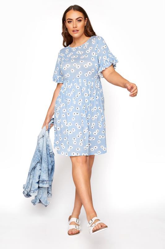 Pastel Blue Floral Frill Sleeve Dress_B.jpg